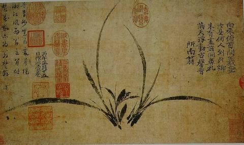 一些古代大师的兰花作品(古代画家的兰花作品-国画兰花)